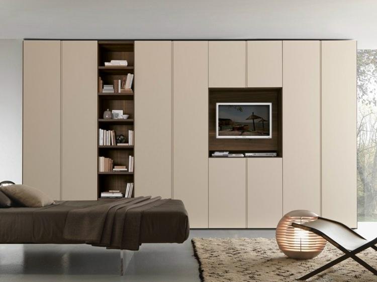 mueble libreria integrada salon puertas