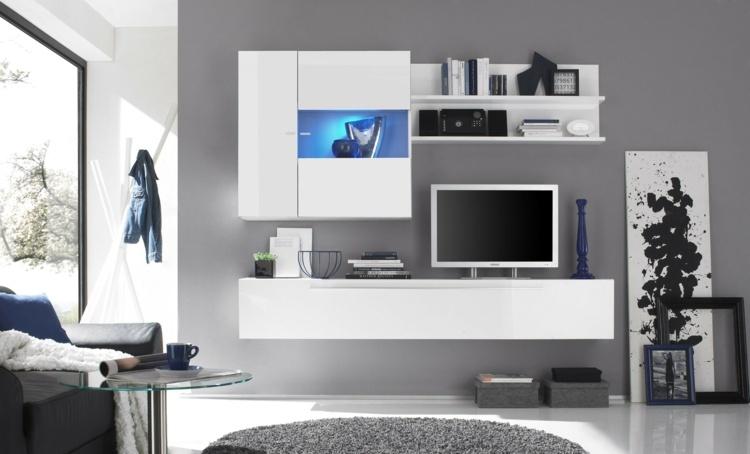 muebles salon blancos pared