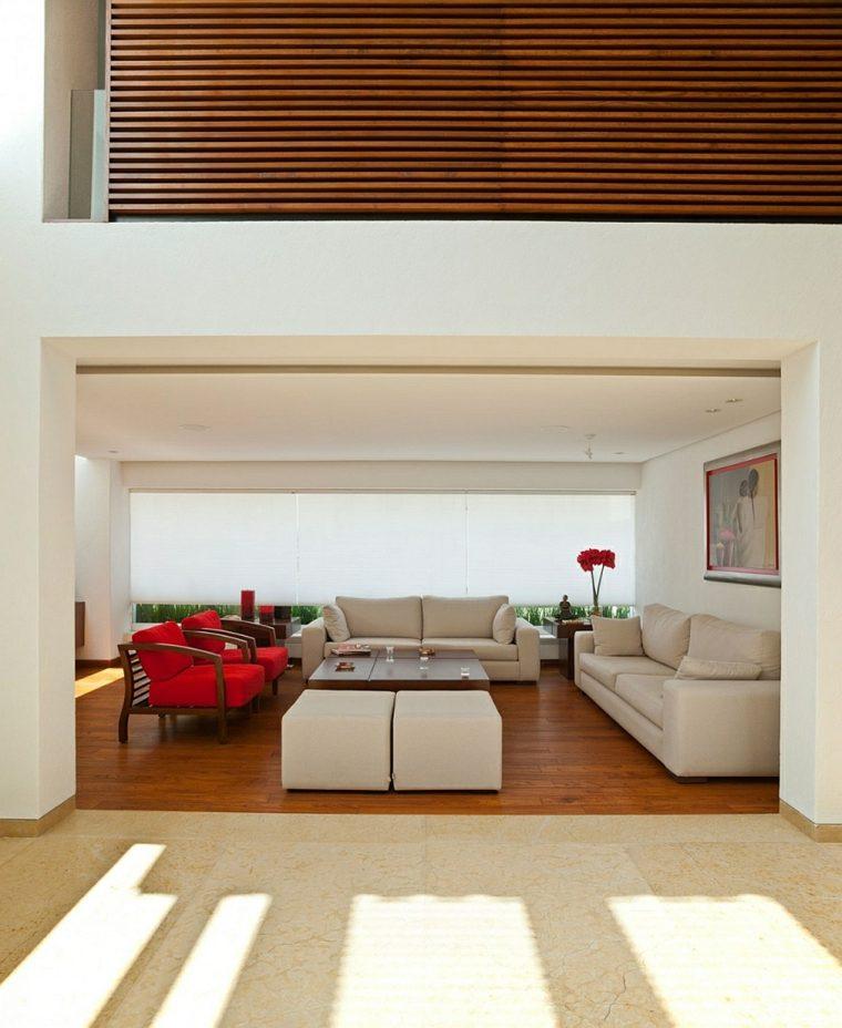 muebles blancos salon blanco sillones rojos ideas