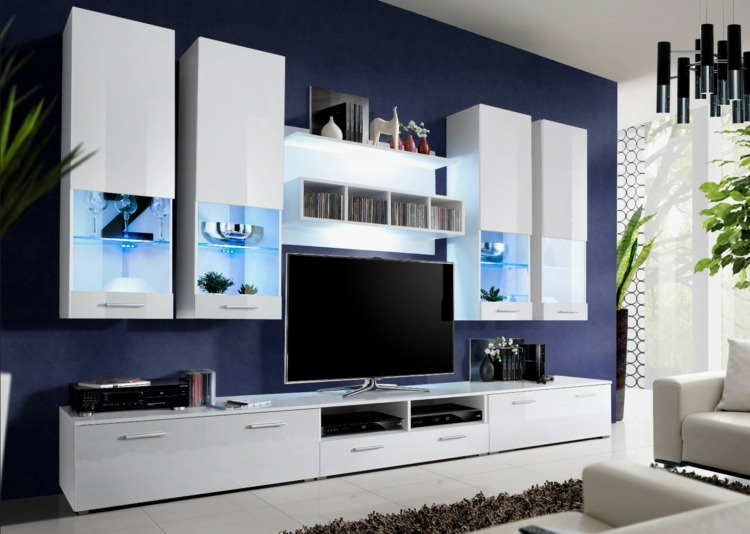 Muebles tv integrados con biblioteca 75 ideas modernas for Muebles modernos living para tv
