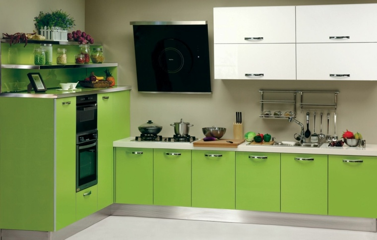 muebles cocina color verde intenso