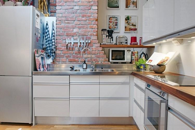 muebles cocina blanco acero