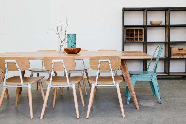 muebles comedor silla industrial celeste