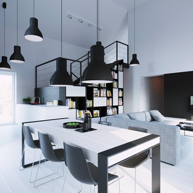 muebles de comedor disenos originales blanco negro ideas