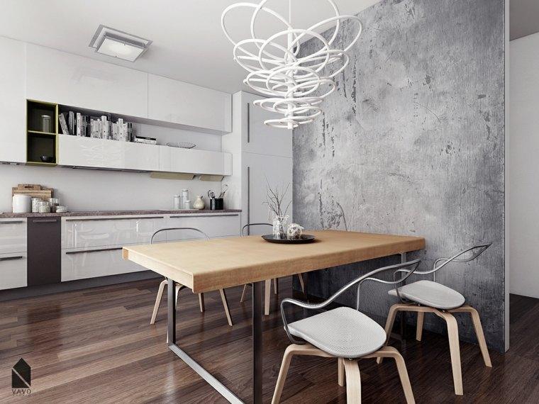 muebles de comedor disenos originales pared hormigon ideas