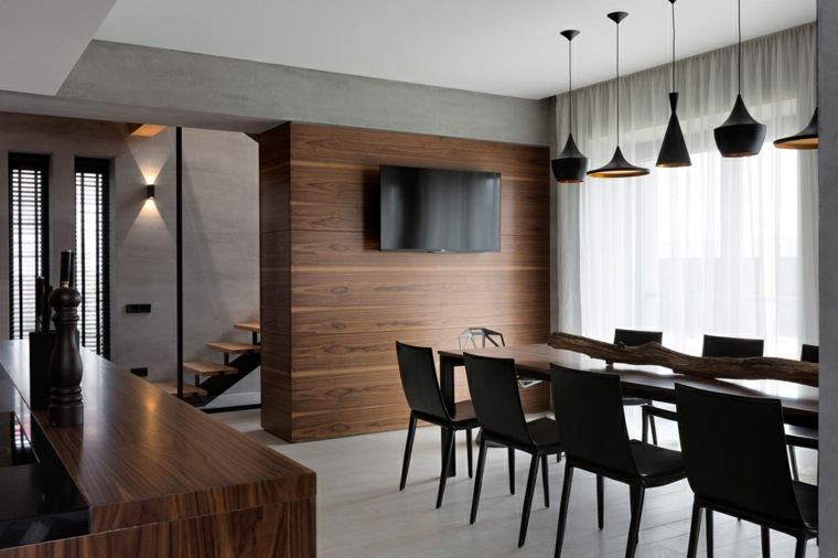 muebles de comedor disenos originales pared madera ideas