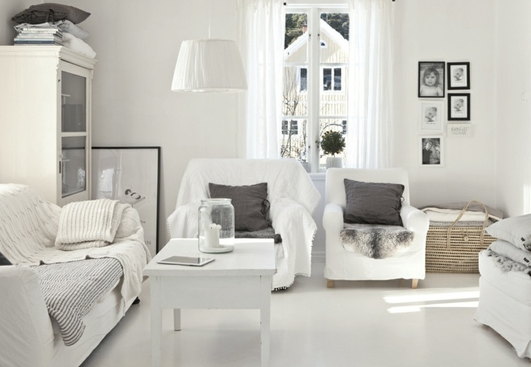 muebles sala estar color blanco