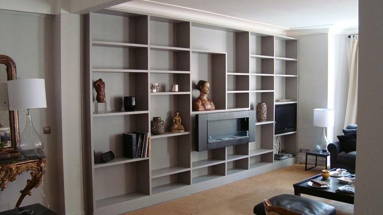 Muebles tv integrados con biblioteca 75 ideas modernas for Estantes modernos