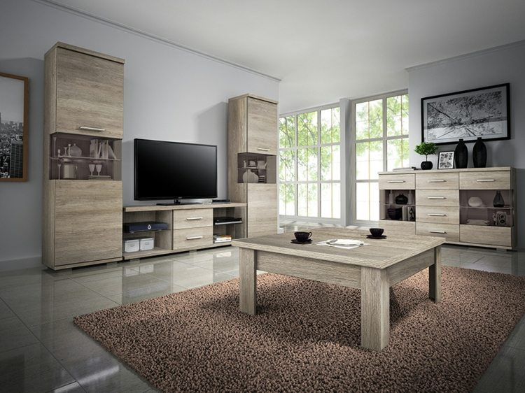 conjunto muebles salon madera laminada