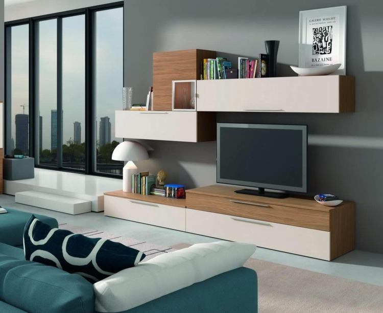Muebles tv integrados con biblioteca 75 ideas modernas for Muebles tv originales