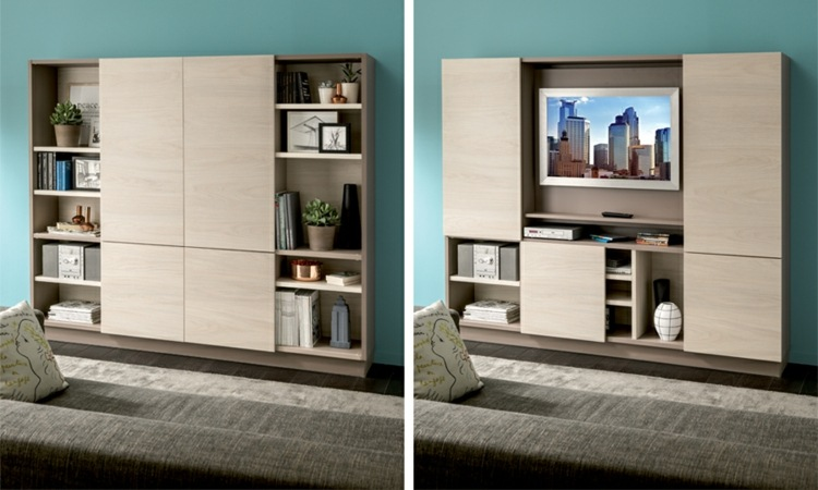 Muebles tv integrados con biblioteca 75 ideas modernas for Muebles diseno living