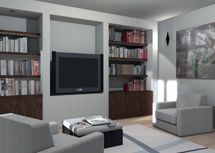 Muebles tv integrados con biblioteca 75 ideas modernas for Parete soggiorno cartongesso