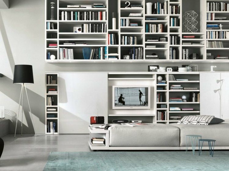 Muebles tv integrados con biblioteca 75 ideas modernas for Muebles bibliotecas para living