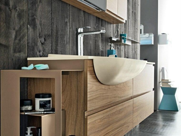 Lavabos modernos 50 opciones de dise o - Banos con suelo de madera ...