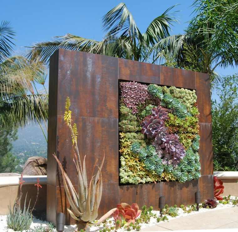 muro corten maceta vertical plantas