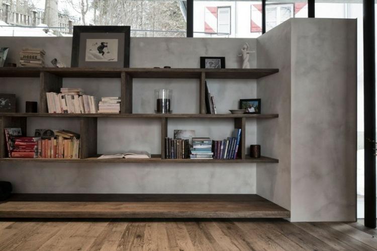 muro estantes diseño moderno libros