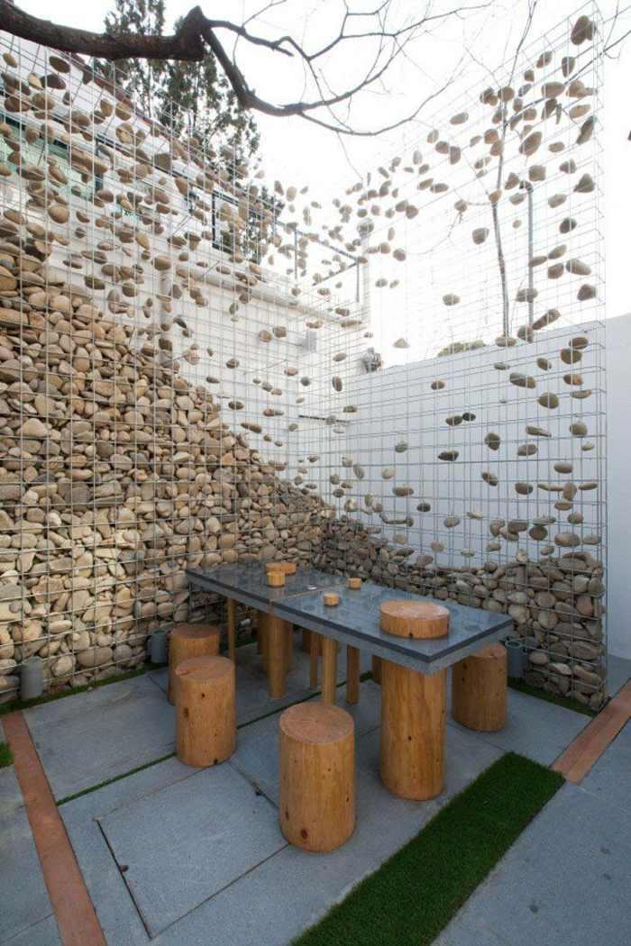 Muros ideas y otras aplicaciones asombrosas con gaviones for Separador piedras jardin