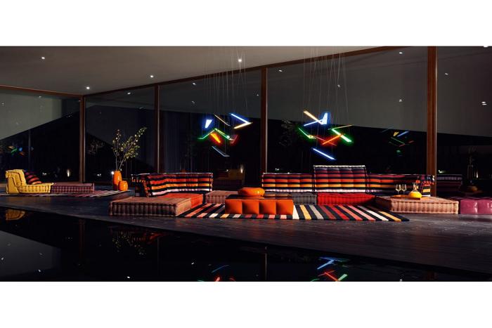 nocturno vista salones estilo luminarias lamparas
