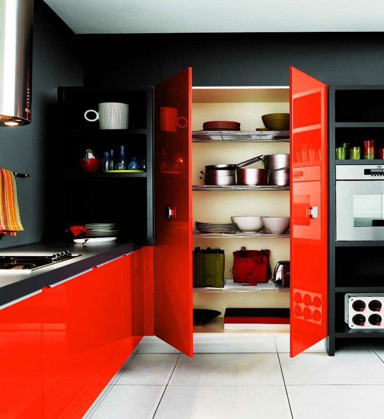 opciones armarios rojos cocina moderna ideas