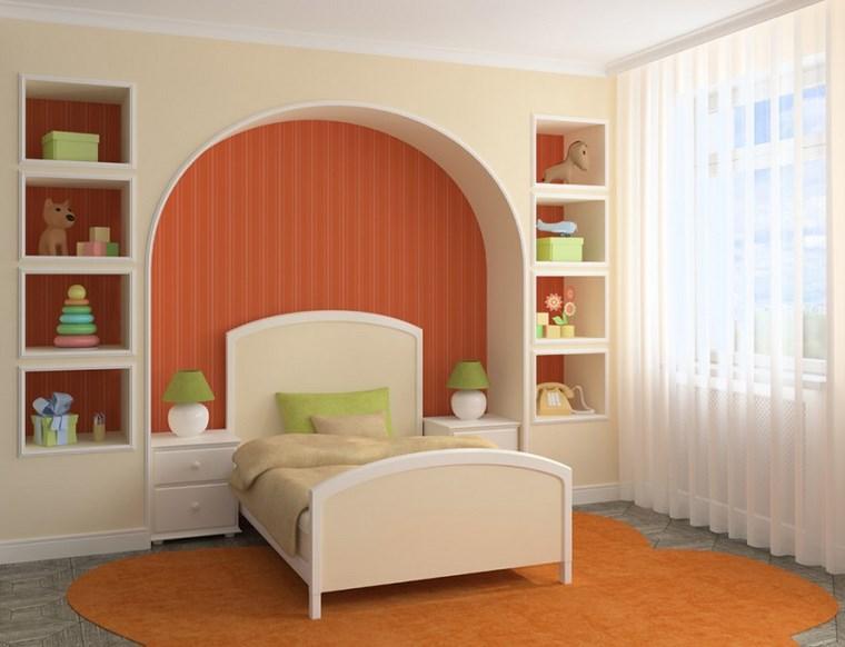 opciones decoracio habitacion nina alfombra naranja ideas