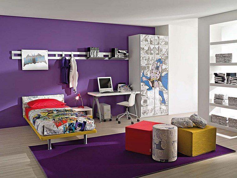 opciones decoracio habitacion nina alfombra pared purpura ideas