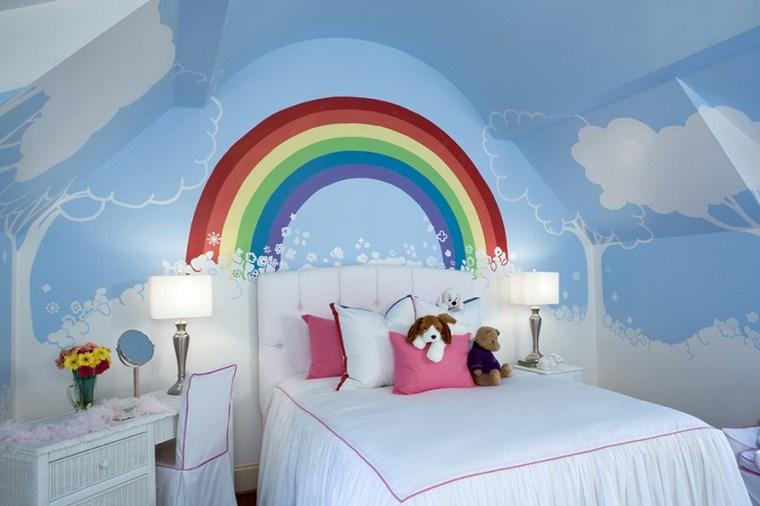 opciones decoracio habitacion nina arcoiris pared ideas