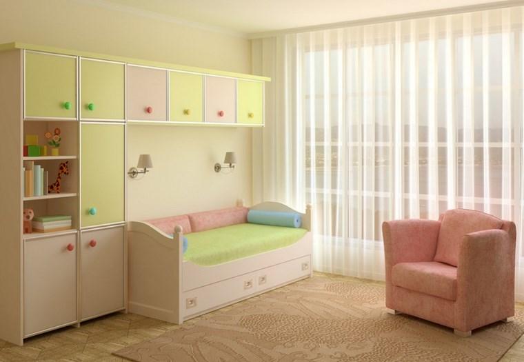 opciones decoracio habitacion nina armarios amarillo rosa ideas