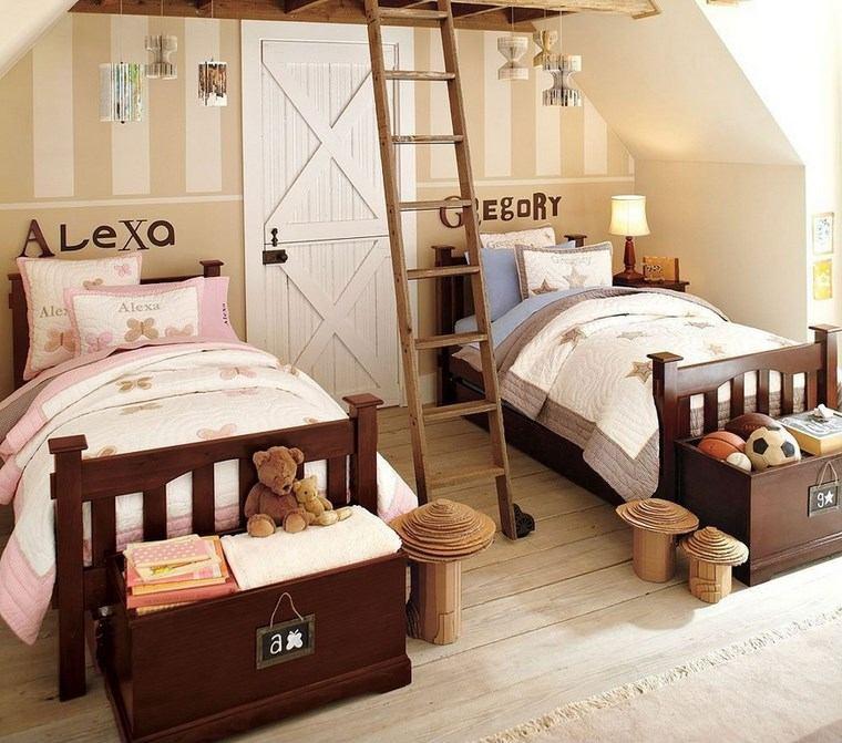 opciones decoracion habitacion nina camas madera oscura ideas