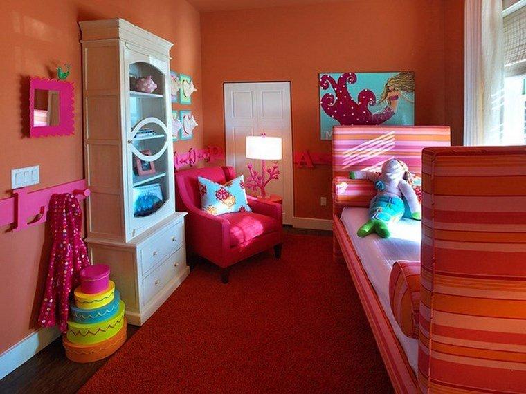 opciones decoracion habitacion nina combinacion rojo naranja ideas