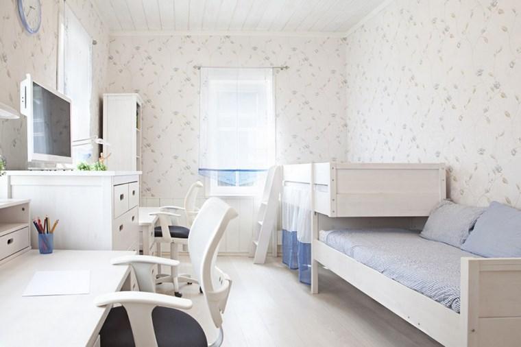 opciones decoracion habitacion nina dos camas blancas ideas