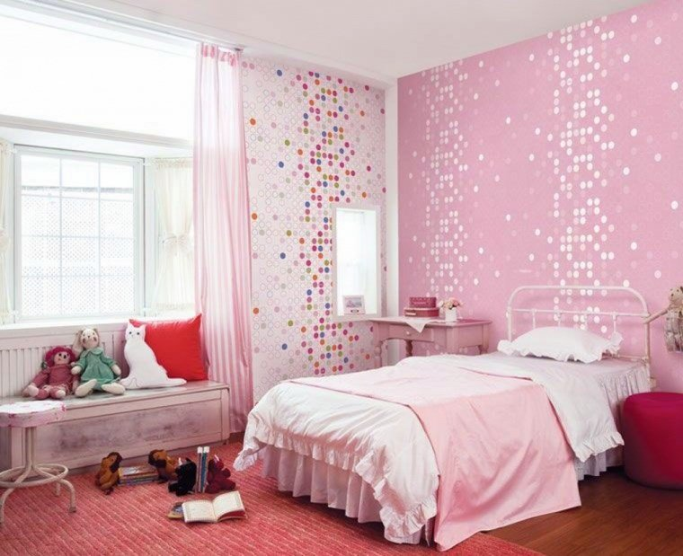 opciones decoracion habitacion nina papel pared brillante ideas