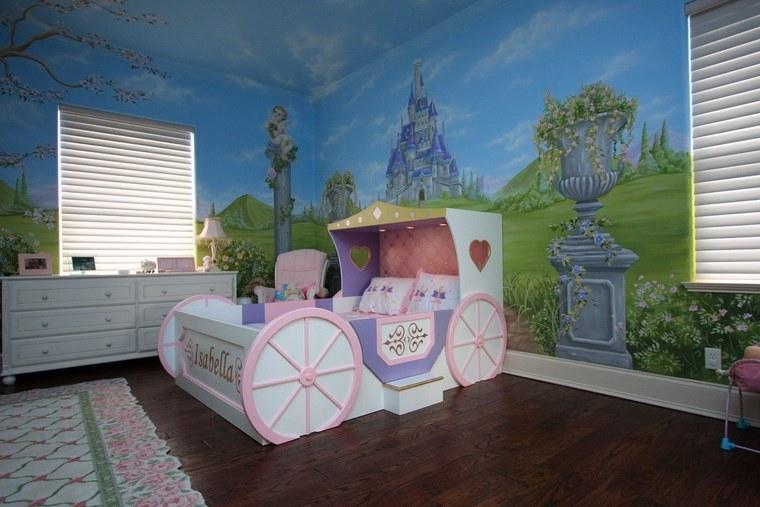 opciones decoracion habitacion nina papel pared estampa castillo ideas