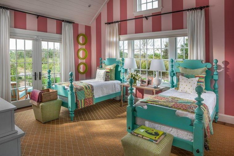 opciones decoracion habitacion nina papel pared rayas ideas