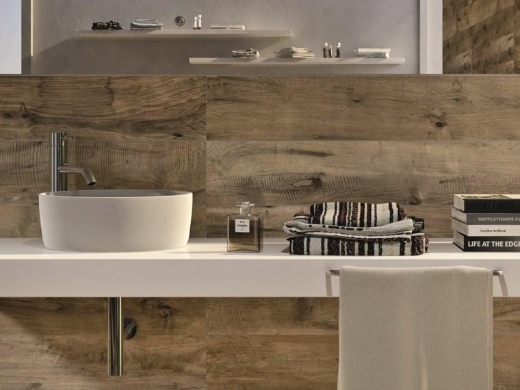 Baño Blanco Suelo Madera: losas ceramicas porcelana imitando madera bano lavabo blanco ideas