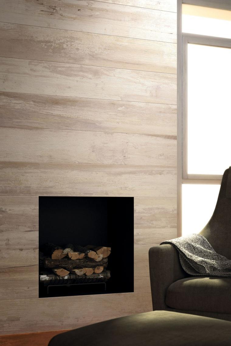 opciones losas ceramicas porcelana imitando madera pared chimenea ideas