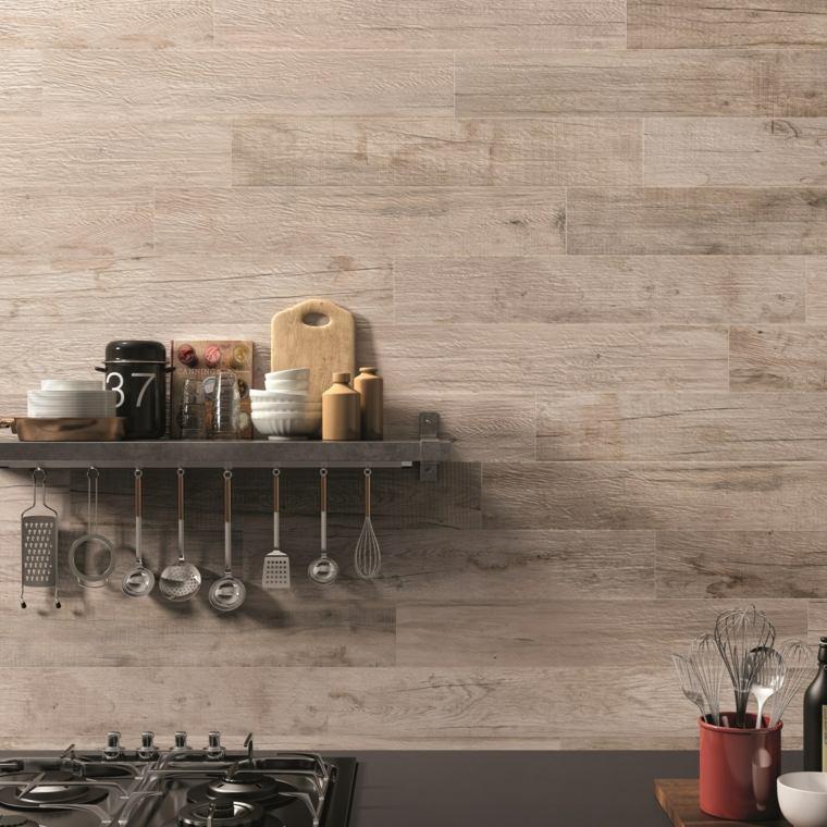 opciones losas ceramicas porcelana imitando madera pared cocina ideas
