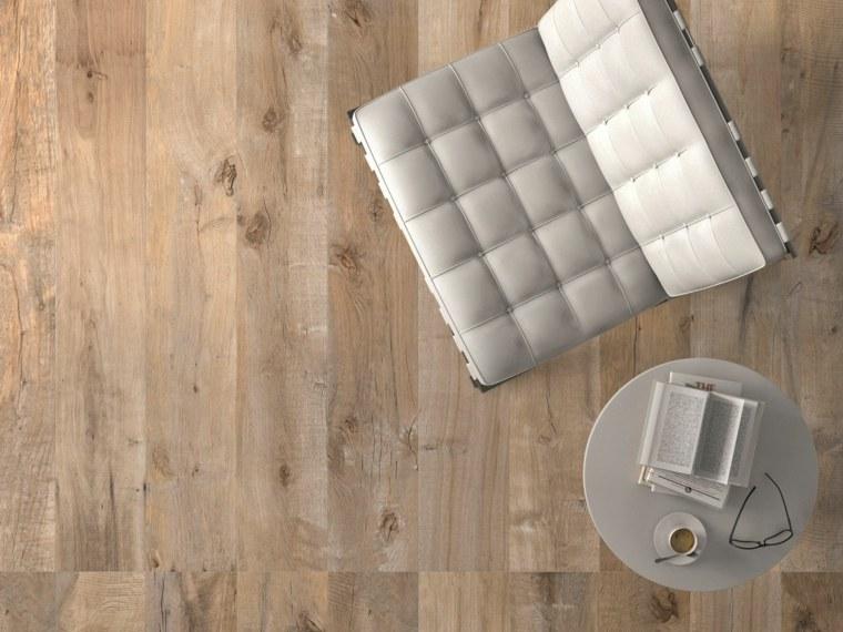 opciones losas ceramicas porcelana imitando madera silla blanca ideas