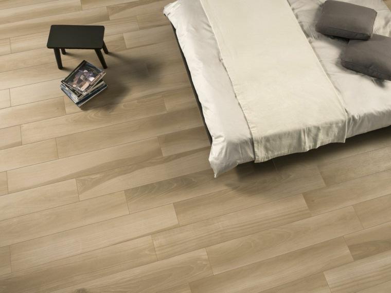 opciones losas ceramicas porcelana imitando madera suelo dormitorio ideas