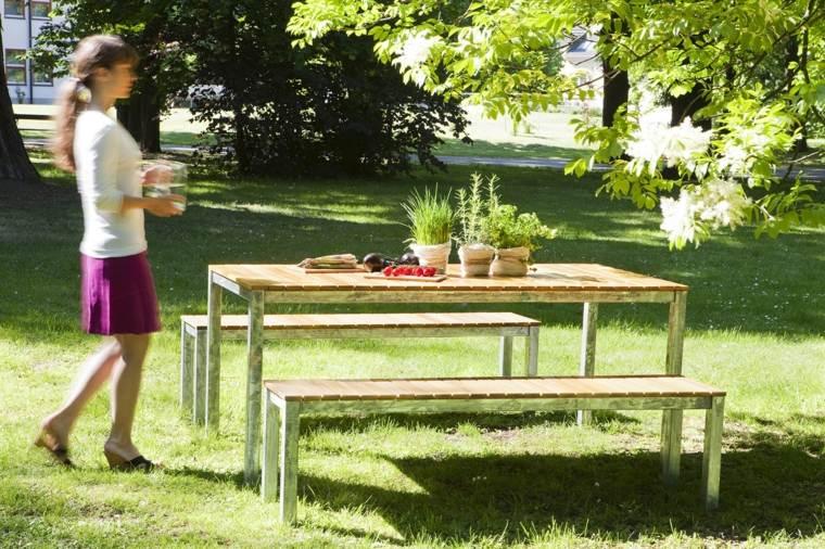 opciones muebles jardin cesped mesa bancos ideas