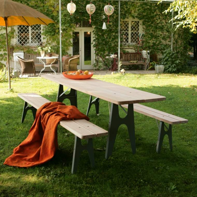 opciones muebles jardin originales bancos mesa madera ideas