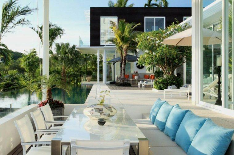 opciones muebles jardin originales cojines azules ideas