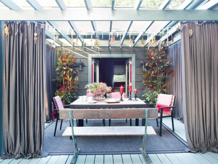 pergola cortinas distintos muebles jardin ideas