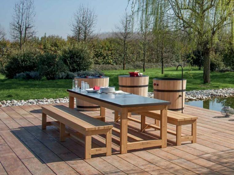 Comida o cena al aire libre 100 ideas para tu jard n for Mesa banco madera jardin