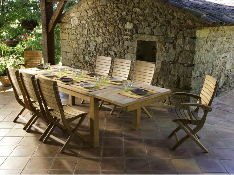 opciones muebles jardin originales mesa madera muchas personas ideas