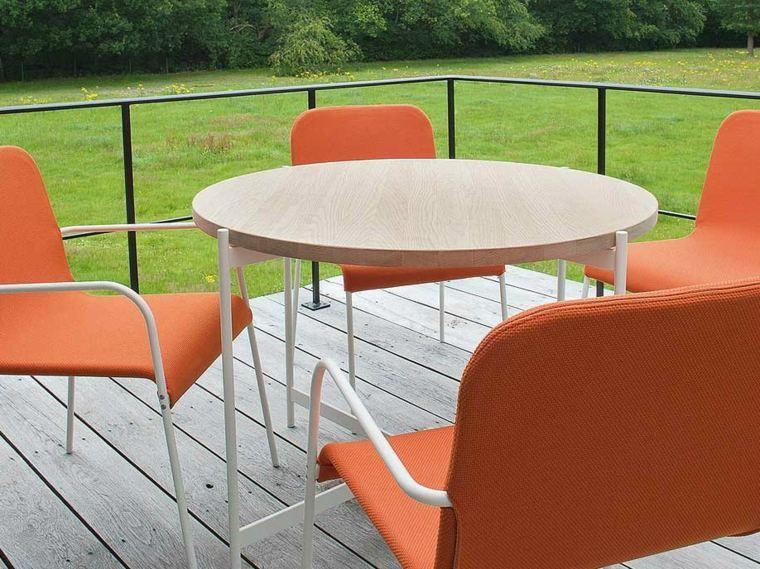 opciones muebles jardin originales mesa madera redonda ideas