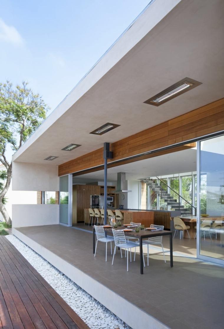 opciones muebles jardin originales mesa negra sillas blancas ideas