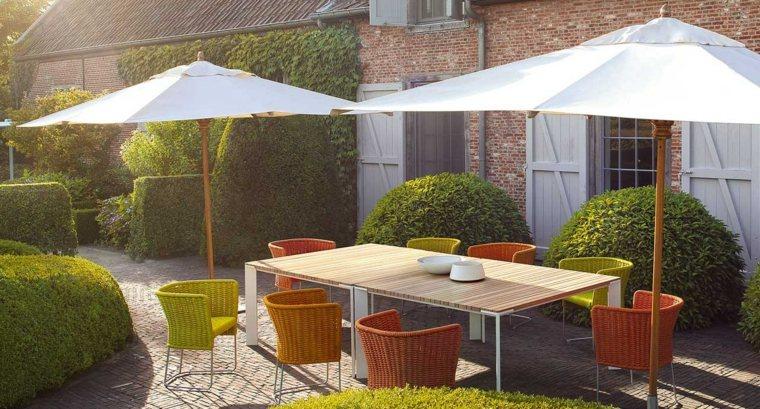 opciones muebles jardin originales mesa rectangular sombrillas ideas
