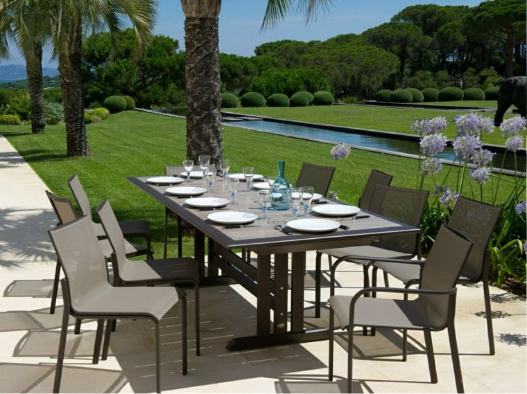 opciones muebles jardin originales palmeras cesped ideas