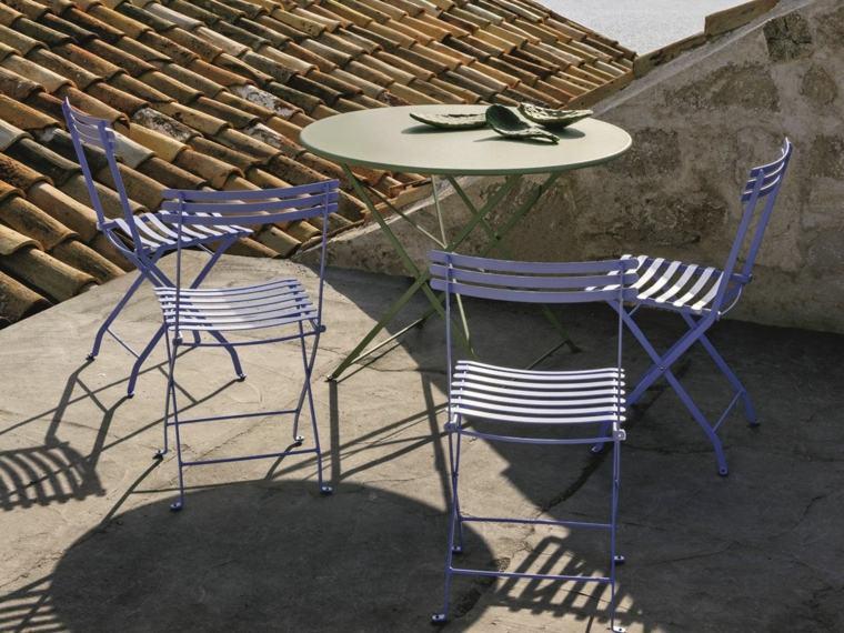 opciones muebles jardin originales sillas acero azul ideas