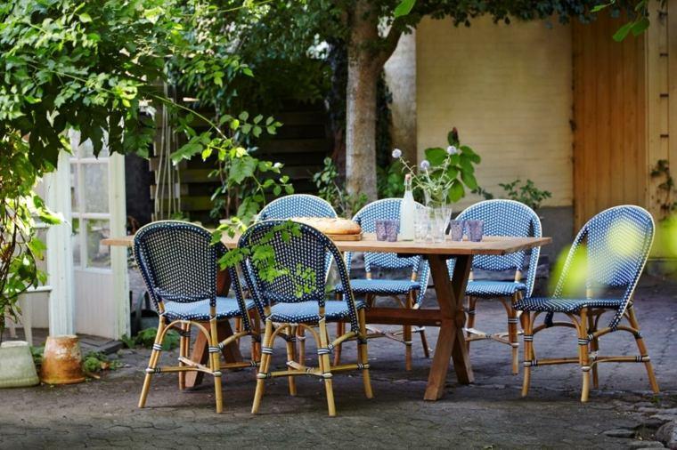 opciones muebles jardin originales sillas azules bambu ideas